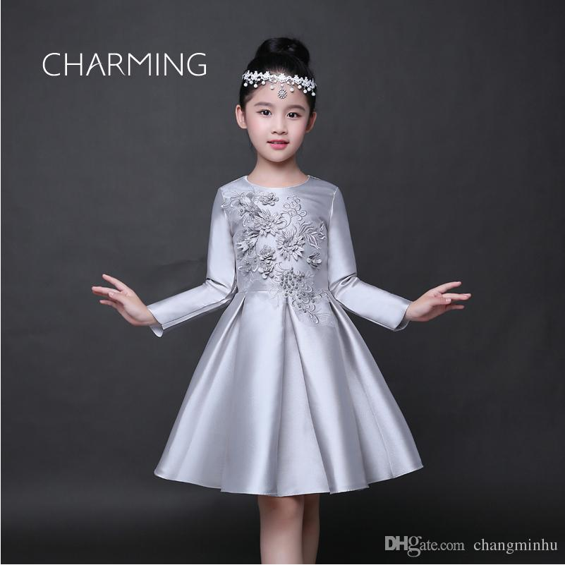 638b727f1b Long Sleeve Dress Silver Sequin Dress Suitable For Grade 8 Prom Dresses  Beaded Ball Gown Wedding Dress Embroidered Dresses Ball Gown Flower Girl  Dresses Big ...