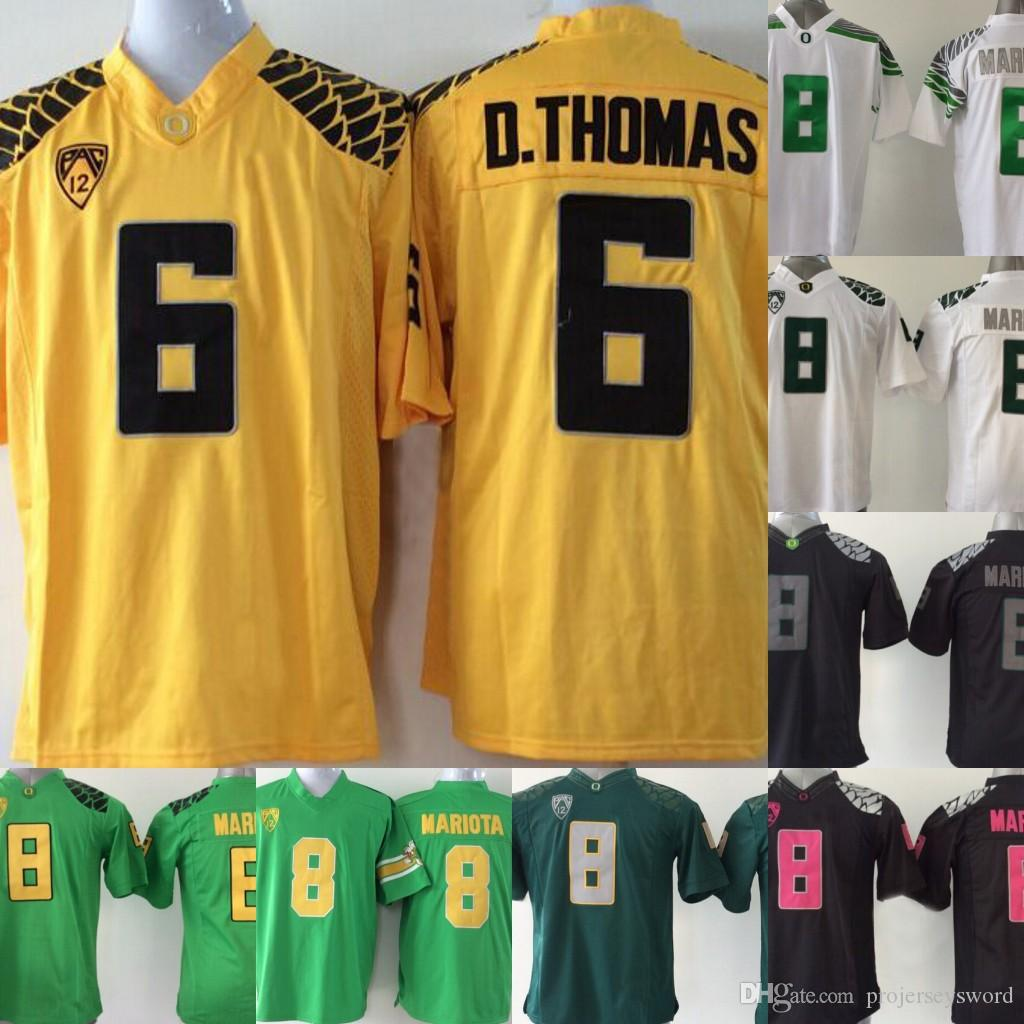 meet 4b71d 78656 Mens Oregon Ducks College Jersey 8 Marcus Mariota 6 De Anthony D.Thomas  White black Green Brown College Football Jersey Stitched