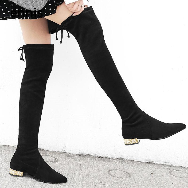 3854dfe07e5 ENNIS 2018 Stretch Over The Knee Boots Low Heel Autumn Winter Boots Women  Lace Up Thigh High Black Crystal Heel Shoes L839