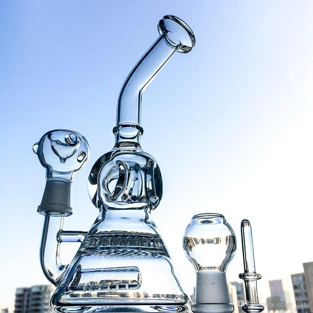 7.5 inch Mini Glass Bong Classic Modeling Water Pipe with Ball Perc Inline Perc Bent Neck Beaker Base Dab Rig Wp176