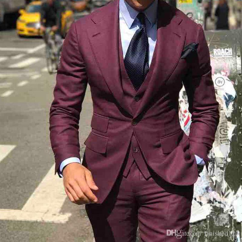 High Quality One Button Burgundy Groom Tuxedos Notch Lapel Groomsmen Mens Wedding Business Prom Suits (Jacket+Pants+Vest+Tie) NO:1381