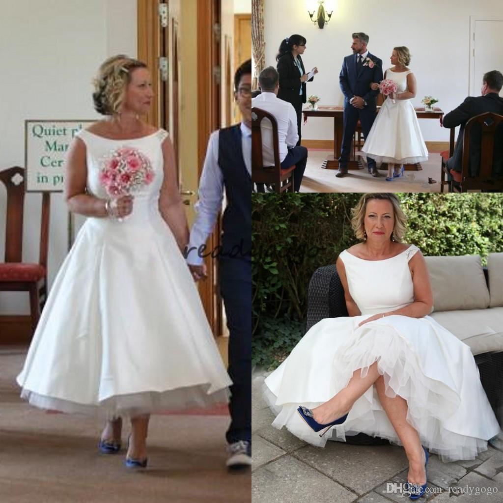383e8a85e639 Discount Modest White Satin Tea Length Wedding Dresses Simple Short A Line  Scoop Neck Cap Sleeves Vintage Beaded Country Boho Bridal Gowns Cheap  Wedding ...