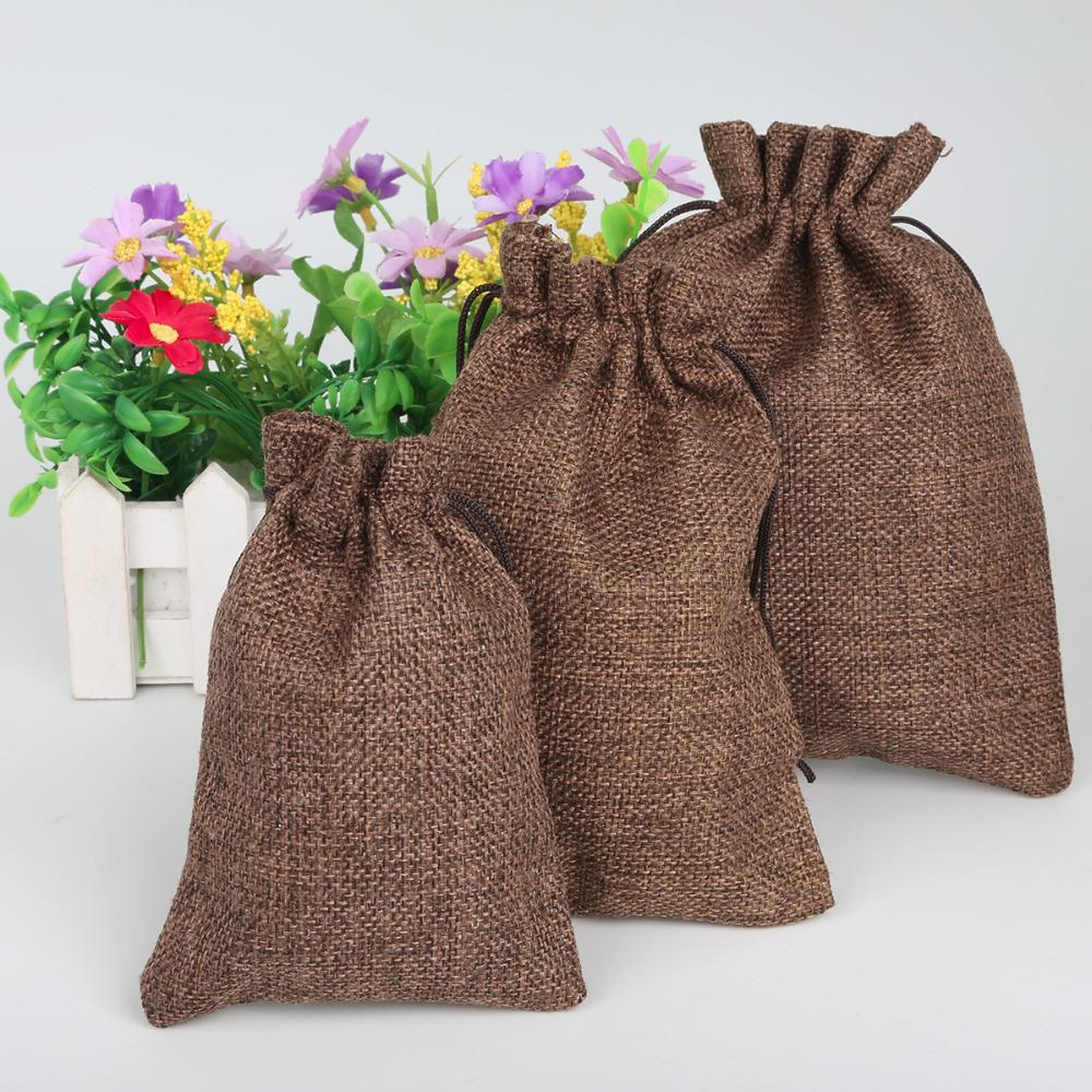Drawstring Wedding Jewelry DIY Decorative Small Gift Pouch Brown Color Linen Cotton Bag 3 Size To Choose