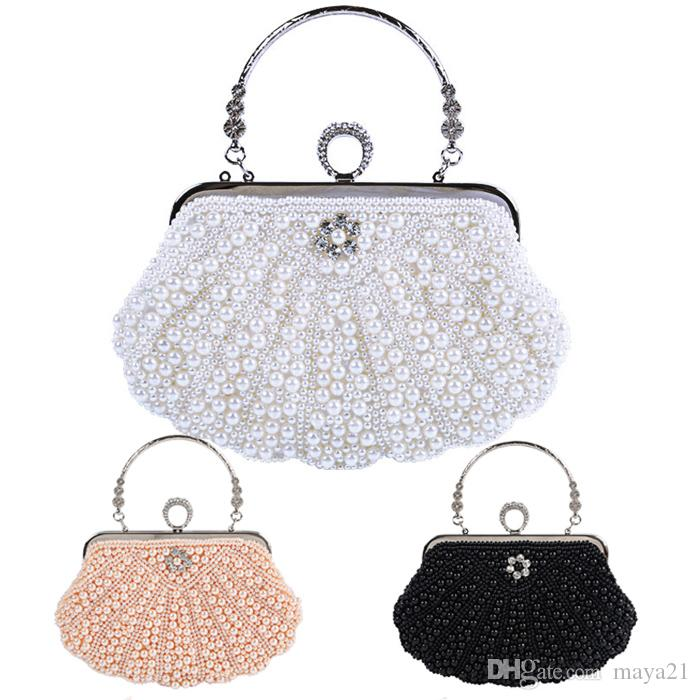28cd06f0d6 Beaded Pearl Bridal Clutch Purse Wedding Clutches Evening Hand Bags Totes  Bridesmaid Clutches Ivory Wedding Clutches Favor Bags Handbag Heaven From  Maya21