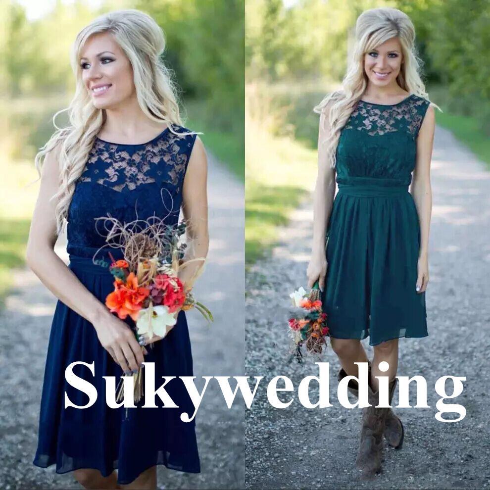 Lace Country Brautjungfernkleider Marine-Blau-Knie-Längen-Maid of Honor Kleider unter 100 preiswerte Spitze Hochzeit Kleider Plus Size