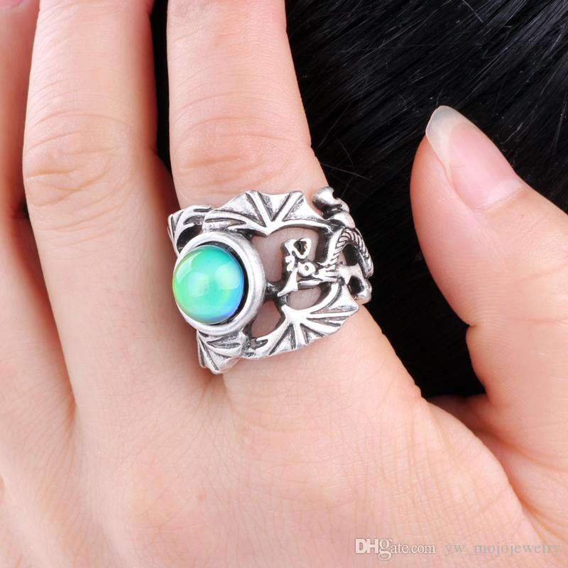 Simple Antique Silver Plated Mood Color Changing Solitaire Ring Jewelry for Women MJ-RS040 with Free Gift