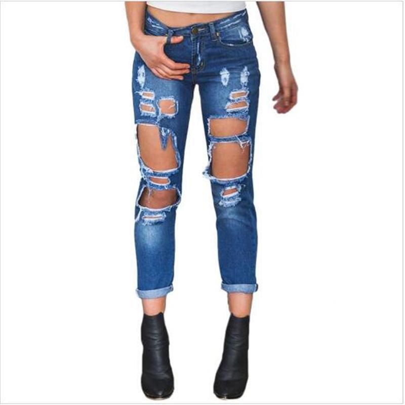8c488c5db8a21 Compre 2018 Mujeres Del Diseño De Moda Jeans Con Agujero Rasgado Otoño  Mediados De Cintura Skinny Jeans Casual Sexy Party Club Suelta Jean Para  Damas A ...