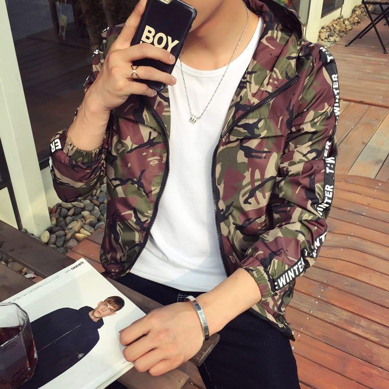 New Fashion Trend Uomo Red Grey Army Camouflage Jacket Primavera Autunno Slim Hooded Mens Giacche e cappotti Thin Windbreaker 5XL