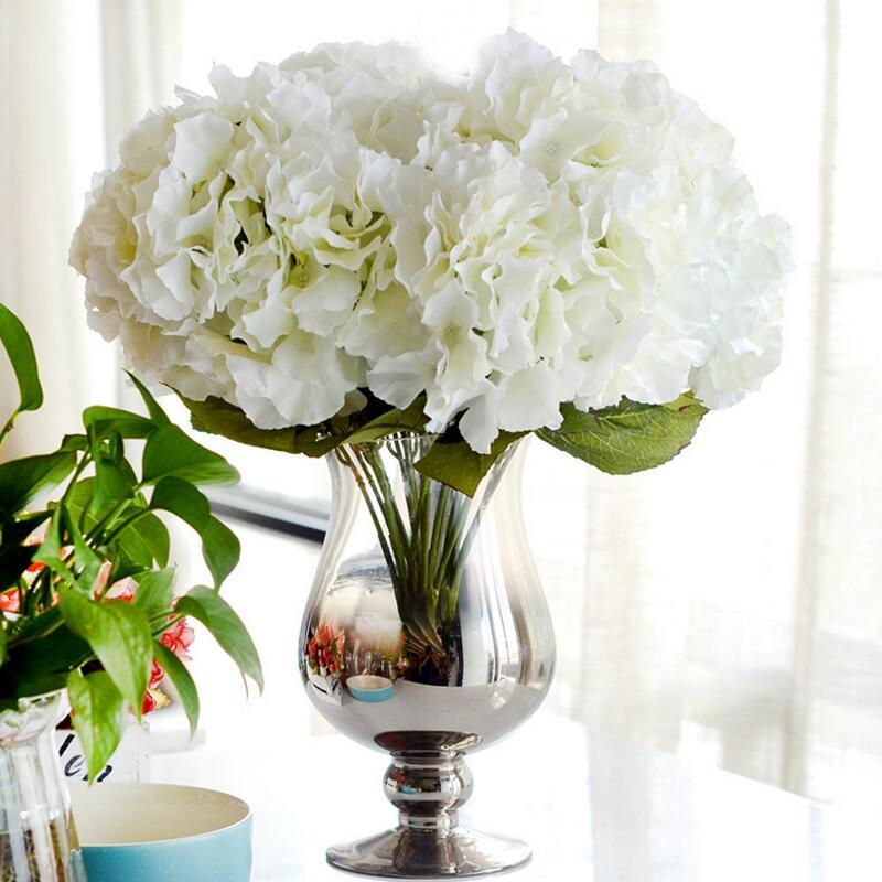 2018 Artificial Flower Hydrangea Bouquet 5 Heads Silk Flower Real