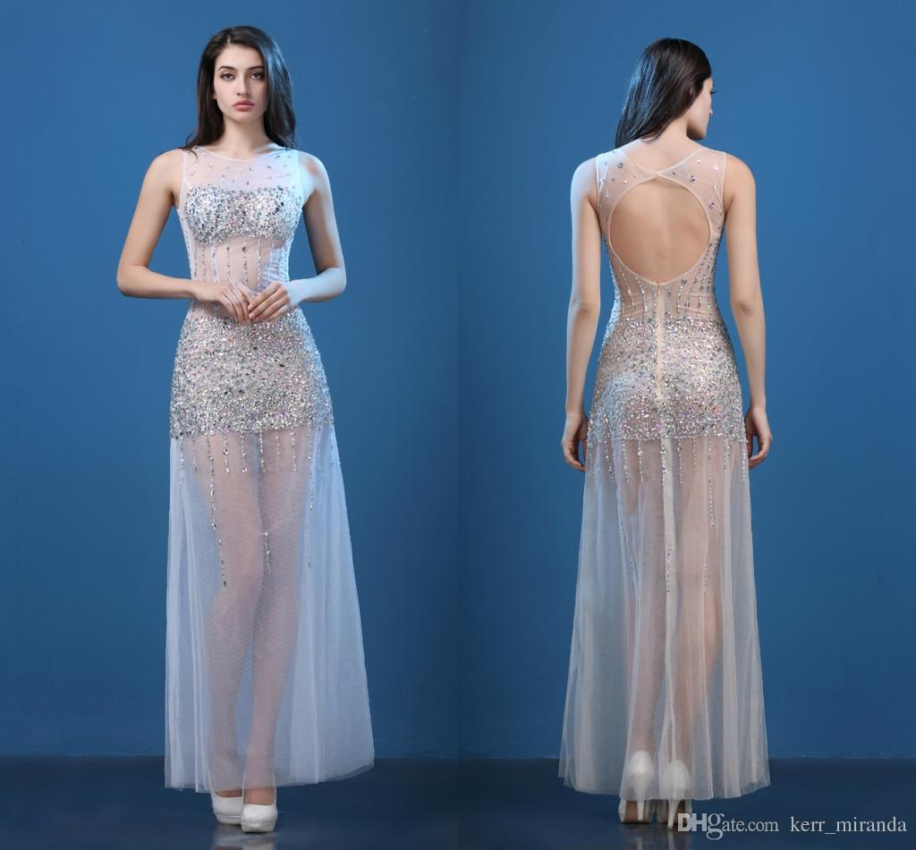 High Quality Perspective Halter Sexy Long Section Fish Tail Bag Hip Hand Bright Diamond Prom Dresses Party Dresses DH1063