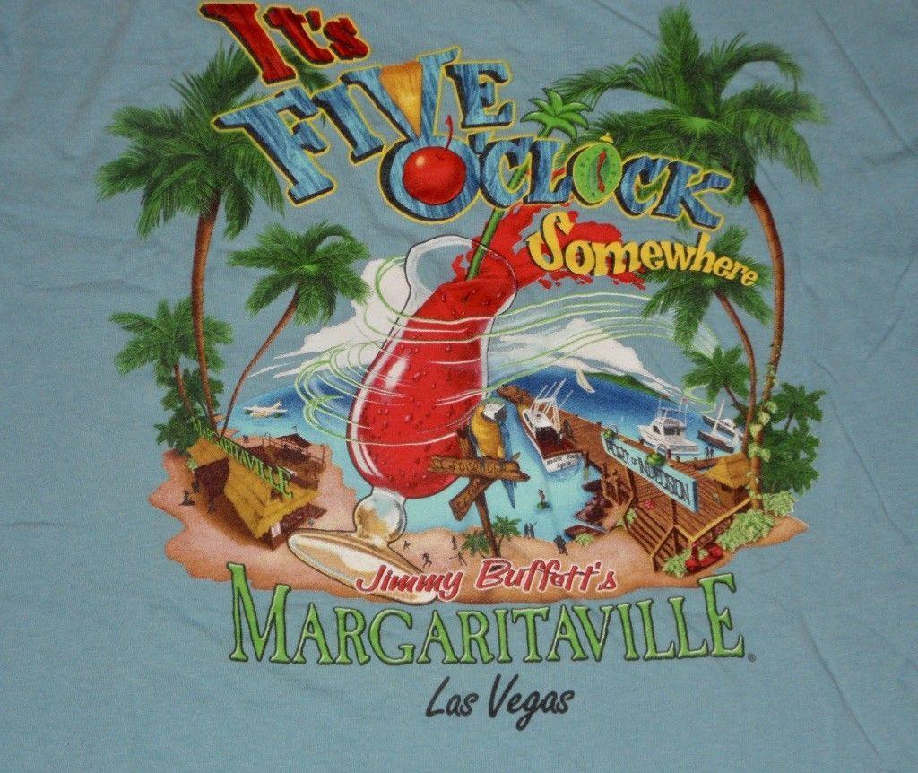 e856c785 Jimmy Buffett's Margaritaville IT'S FIVE O'CLOCK SOMEWHERE Las Vegas T Shirt  L