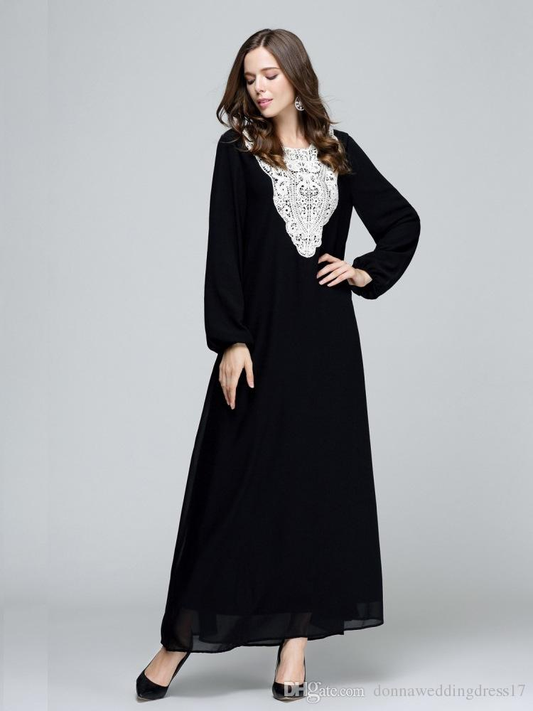7f75d2d1b0ce6 Muslim Women Long Sleeve Hijab Dress Maxi Abaya Jalabiya Islamic Women Dress  Clothing Robe Kaftan Moroccan New Lace Plus Size Womens Formal Dresses  Formal ...
