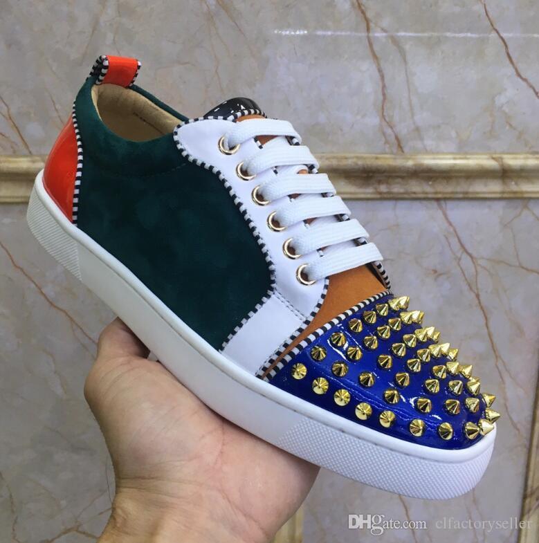 1517af7120d5b Designer Low Top Spikes Toe Glitter Junior Red Bottom Sneakers Shoes ...