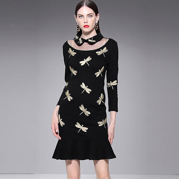 New Collection Women s Turn Down Collar 3 4 Sleeves Patchwork Embroidery  Ruffles Fashion Little Black Runway Dresses Runway Dresses Fashion Dresses  Short ... b2470b5764ad