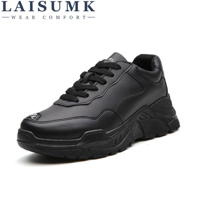 4fdb9985ac41d3 Acheter LAISUMK Hommes Pu En Cuir Chaussures Noir Blanc Casual Marque Homme  Chaussures Confortable Occasionnel Pour Garçon Dur Plate Forme De $33.48 Du  ...