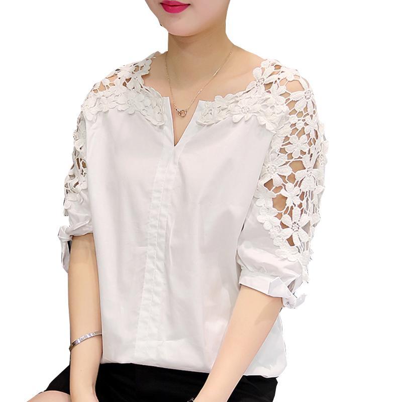0c8e41e76e87 2019 Wholesale Camisas Femininas 2017 White Shirt Women Tops Hollow Out  Flowers Cotton Lace Blouse Moda Mujer Korean Fashion Vetement Femme 5XL  From Alberty ...