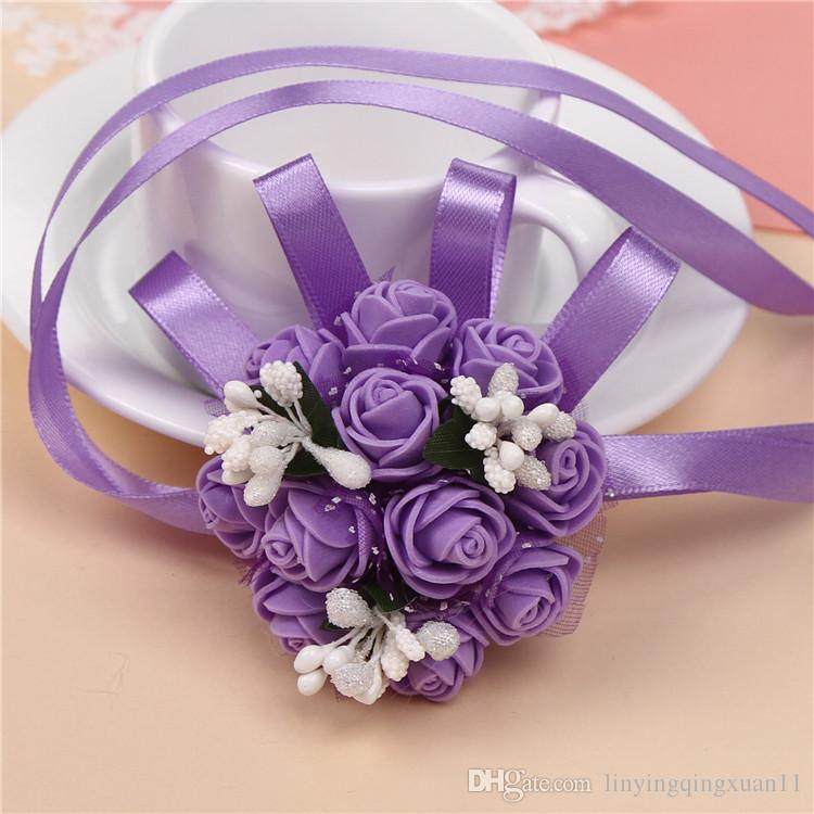 7cm Foam Wrist Flower Rose Silk Ribbon Bride Corsage Hand Decorative Wristband Bracelet Bridesmaid Curtain Band Clip Bouquet