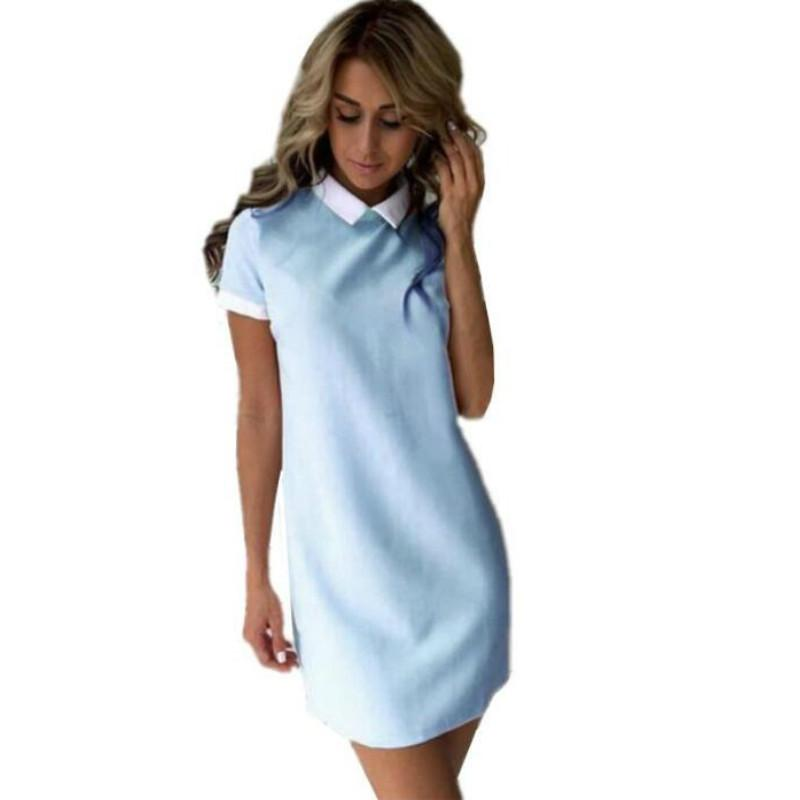 81b23a224 Compre 2019 Primavera Otoño Nuevas Mujeres Casual Oficina Vestido Camisa  Recta Delgada Chica Fiesta Azul Marino Vestidos Mini Vestidos Tallas  Grandes A ...
