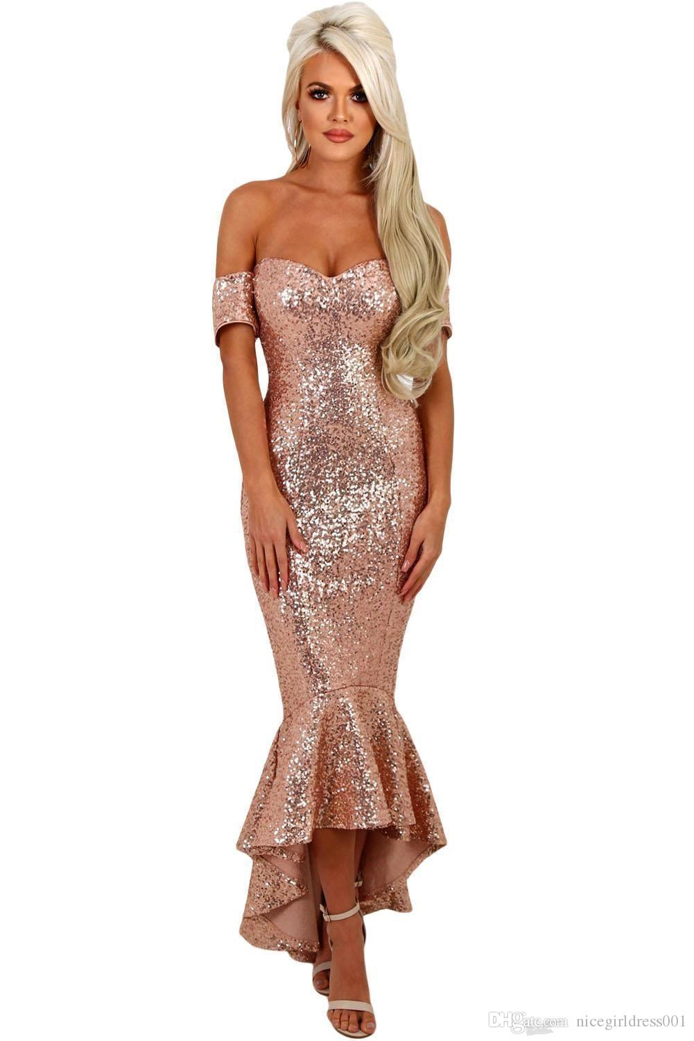 Sparkly Rose Gold Sequined Mermaid Prom Dresses 2018 Off the Shoulder High Low Formal Evening Party Gowns Custom Made