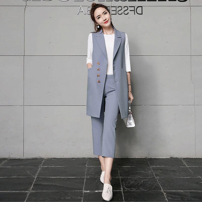 0826cd4d528 Compre Chaleco De Moda Para Mujer Conjuntos De Dos Piezas Tendencia Moda Trajes  De Mujer Conjunto Oficina Señora Blazers Largos Pantalones Traje Casual ...
