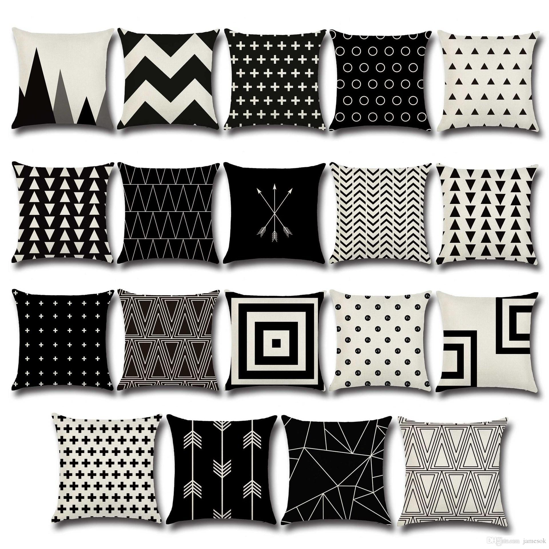 Pillow Case Black And White Pattern Pillowcase Cotton Linen Printed