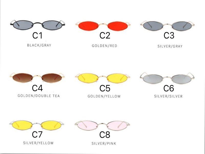 Gafas de sol pequeñas Metal Oval Frame Cool Punk Design para hombres y mujeres 2018 Nuevas es Wholesale Eyewear Shop Melody2041