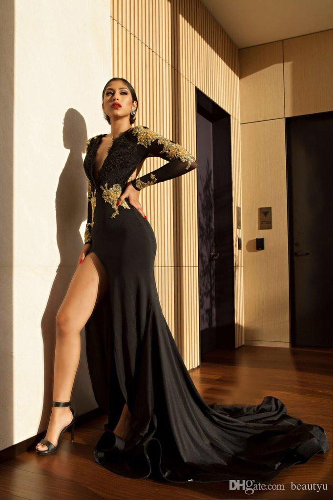 High Slit 2018 Prom Dresses Gold Lace Appliques Mermaid Sheer Long Sleeves Deep V Neck Open Back Sexy Black Evening Party Gowns 2K18