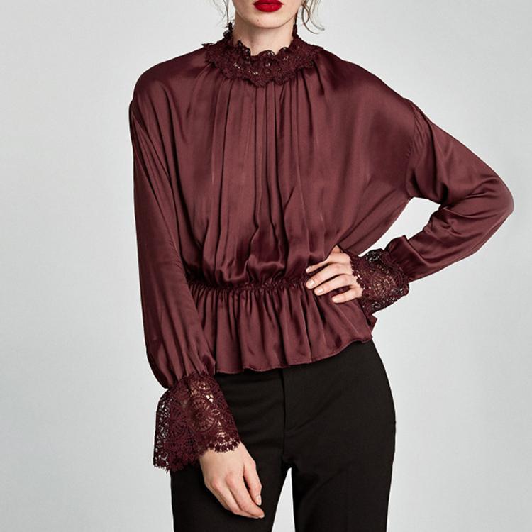 2019 2018 Spring New Women Burgundy Lace Shirts Female Flare Long