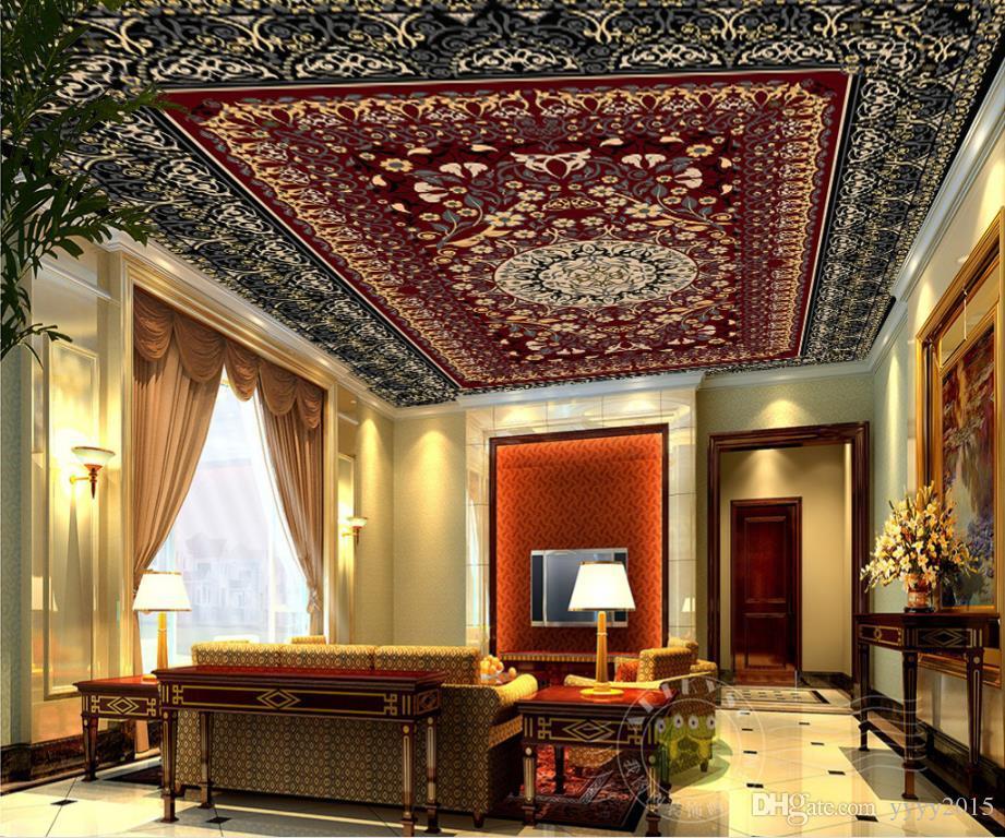 3d stéréoscopique papier peint à la mode exquise famille rouge feuilles motif tapis art Zenith fresques