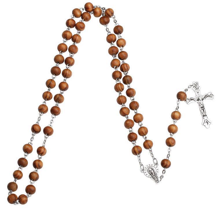 Collana con rosario croce Collana con lunga catena in legno Collana in argento Collana con gocce di Gesù donne Regalo da uomo