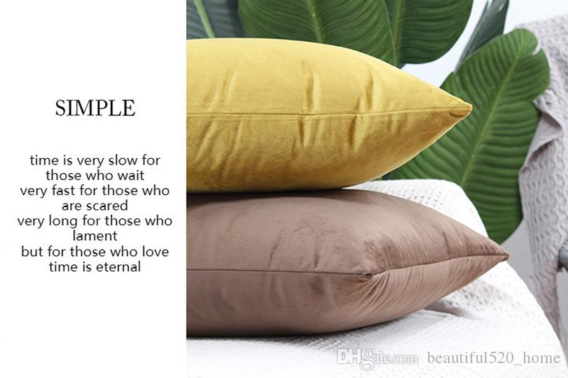 Simple Pillow Covers Solid Color Office Chair Velvet Pillow Covers Invisible Zipper Home Decorative Pillow Covers BH18038