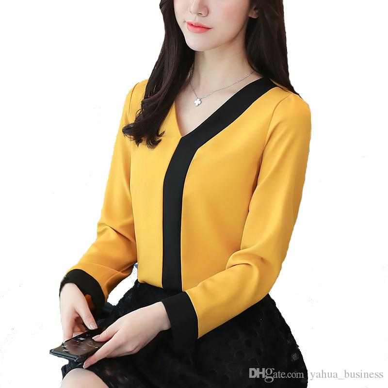 fa6c66566d9 2019 Fashion Woman Blouses Ladies Tops Office Chiffon Blouse Women Fashion  V Neck Long Sleeve Patchwork Shirt Female Casual Spring Blusas Mujer From  ...