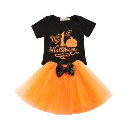 d6827c2a5 2019 Halloween Newborn Infant Baby Girl Clothing Set Bodysuits Tops ...