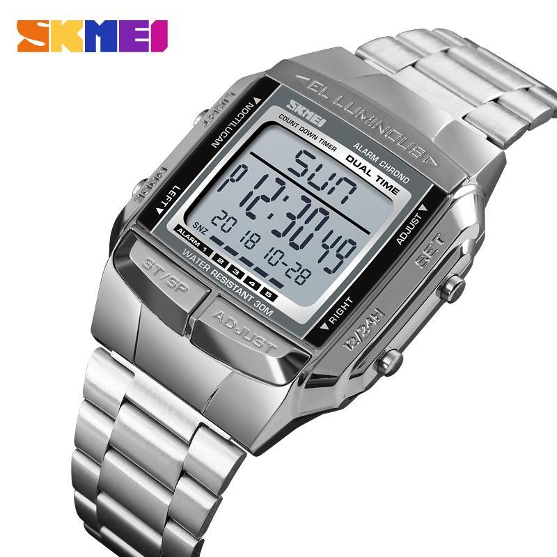 188a77cf41d Compre SKMEI 1381 Luxuly Mens Relógio De Pulso De Ouro Dourado Relógios  Digitais De Aço Inoxidável Top Marca Relogio Masculino Saatler Relógio  Masculino De ...