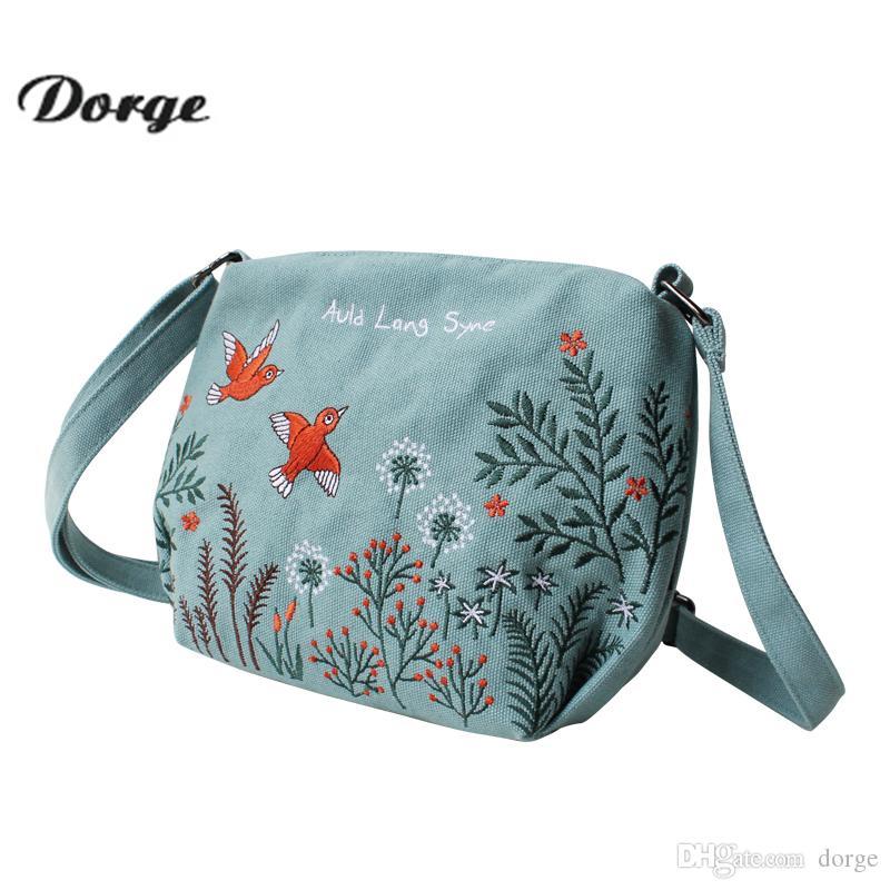 36ef0c6d9c Canvas Ladies Handbag Phoenix Embroidered Seashell Vintage ...
