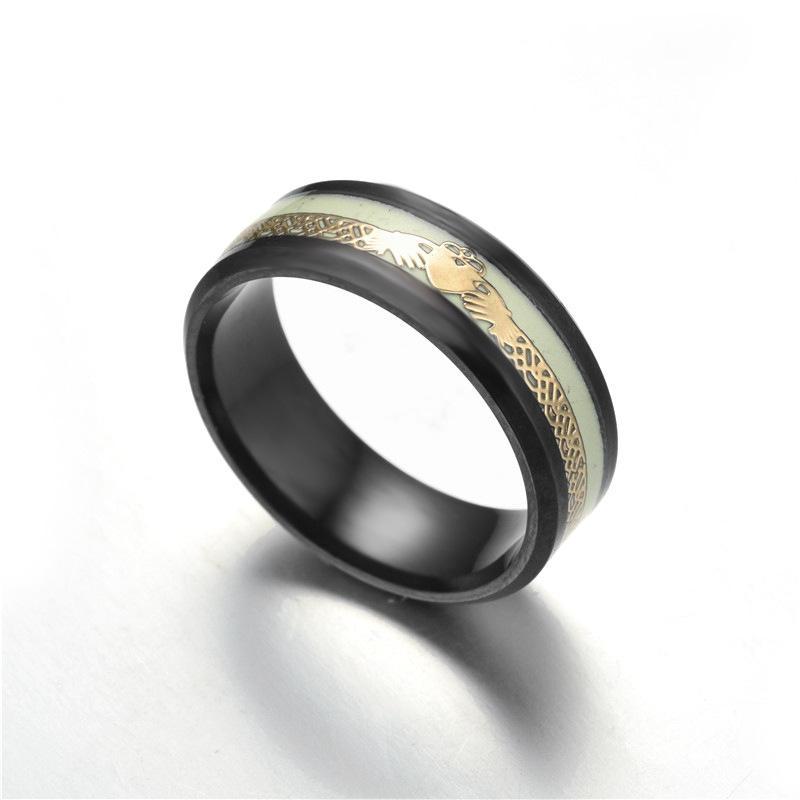 Whole Sale Titanium Steel Black Color Glow In The Dark Ring Mens
