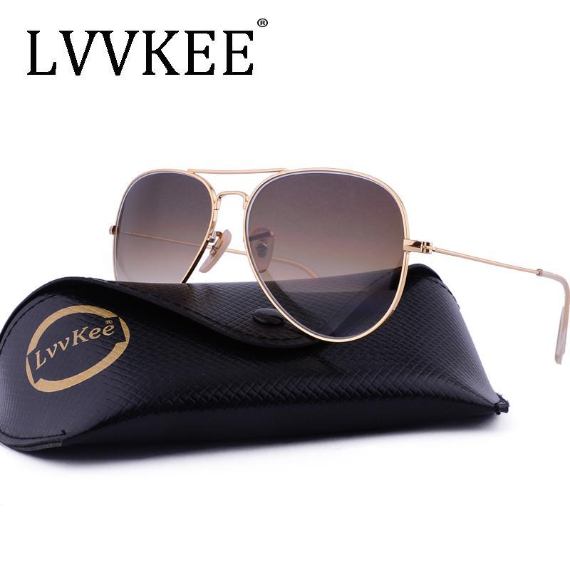 c72e8aea03 Lvvkee Brand Glass Lenses Pilots Sunglasses Men Women 58mm Gradient G15  Mirror Sun Glasses Lunette De Soleil Femme Homme Rays D18102304 Cheap  Sunglasses ...