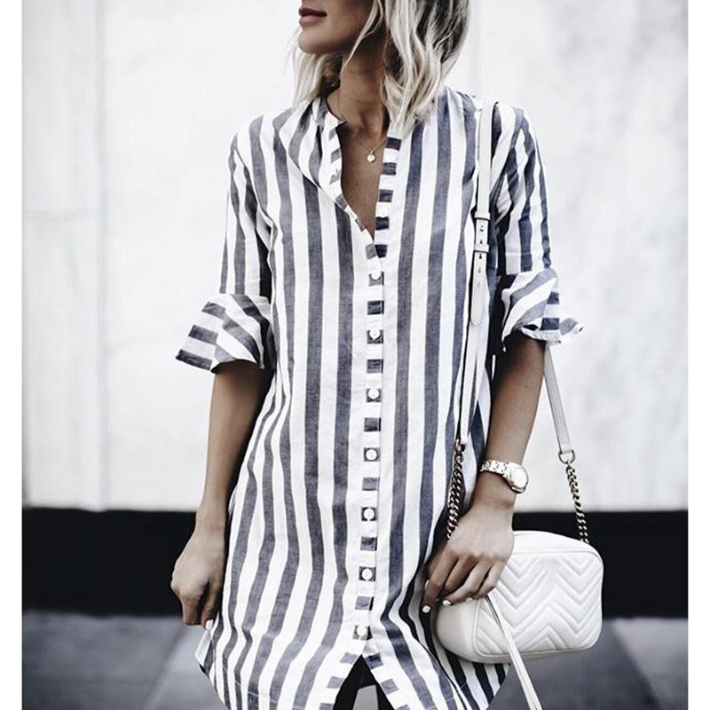 2019 Striped Blouses Top For Tall Women 2018 Spring Summer Office