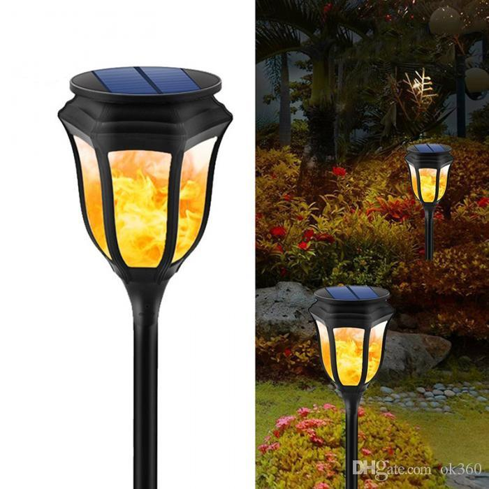 Beautiful New Solar Flame Flickering Lawn Lamp Led Torch Light Realistic Dancing Flame Light Waterproof Outdoor Garden Decor Lamp Hot Led Lawn Lamps