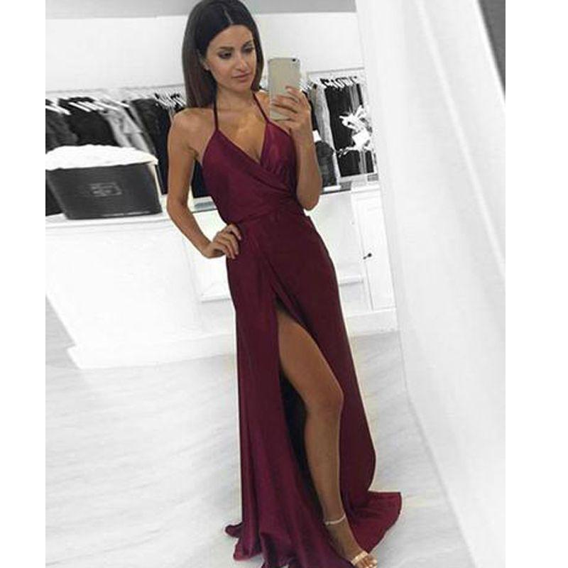 7c44de041c97 2018 Simple V Neck Burgundy Long Prom Dress High Splits Evening Gowns  Spaghetti Straps Prom Dresses Prom Dress Websites White Prom Dress From  Lavendel