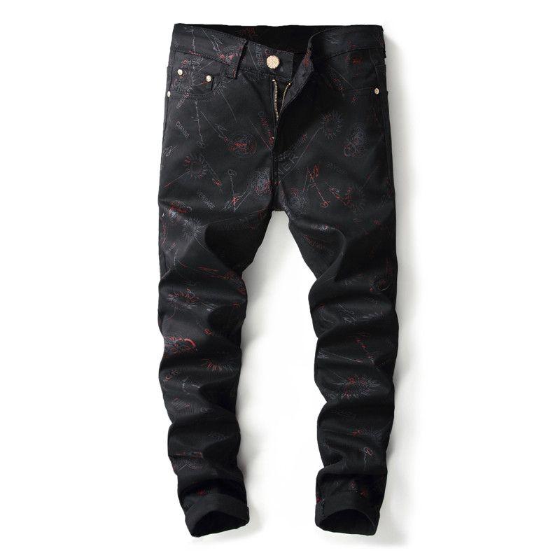 Compre 2018 Nueva Marca De Moda Stretch Jeans De Los Hombres Negro De  Impresión Casual Slim Fit Elástico Pantalones Casuales Apretados Pantalones  De ... 261b52d94ca