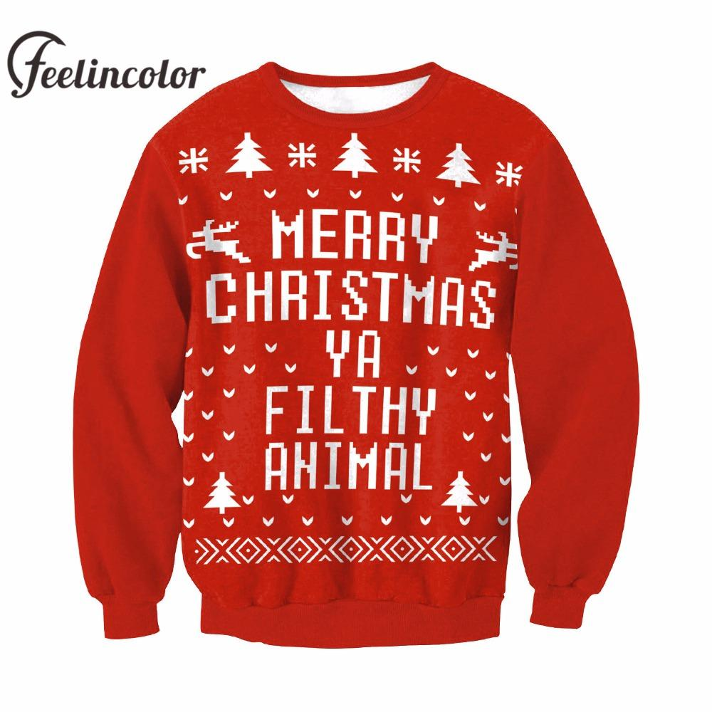 Unisex Kersttrui.2019 Feelincolor New Christmas Sweater Men Santa Clus Unisex Kerst