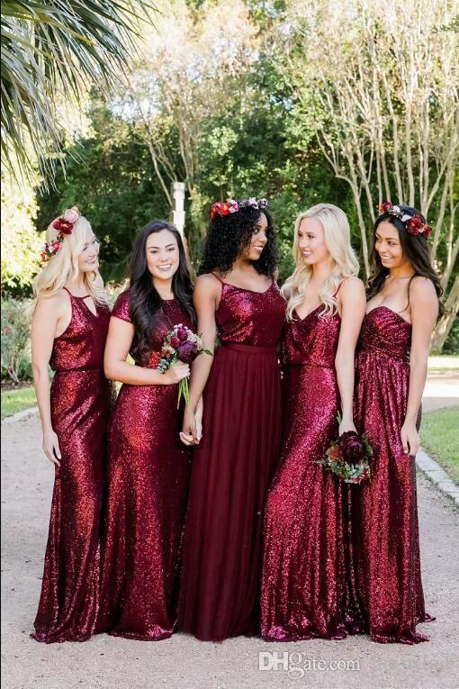 Невесты платье 2020 Burgundy Искорка Sequined Long Maid Of Honor мантии сшитого Бич свадьба гости Платье винтажных платья