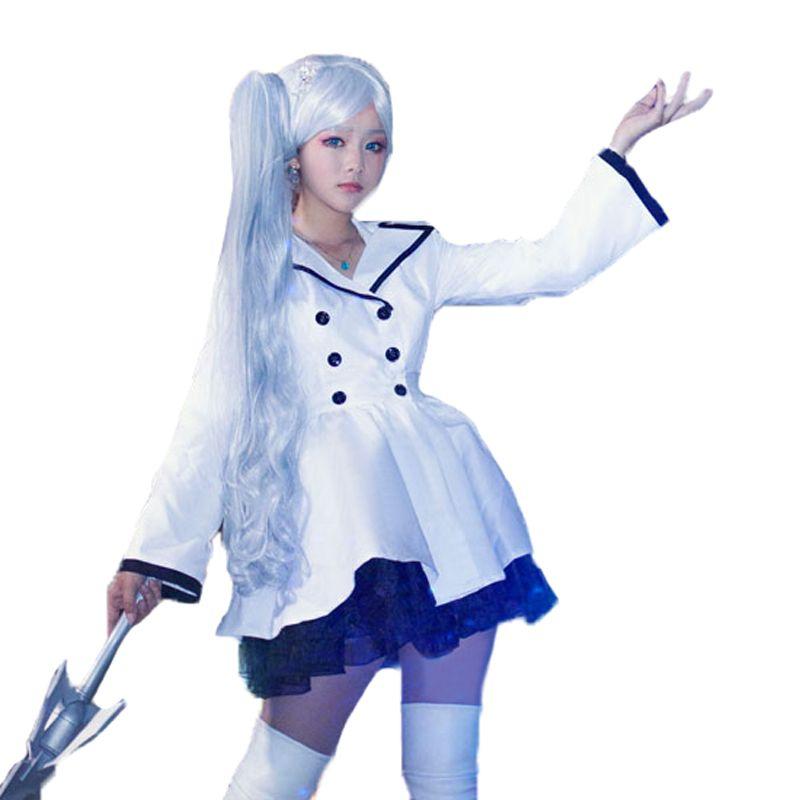 4d732c9dcd884 RWBY Weiss Schnee Cosplay Costume white Coat printting coat