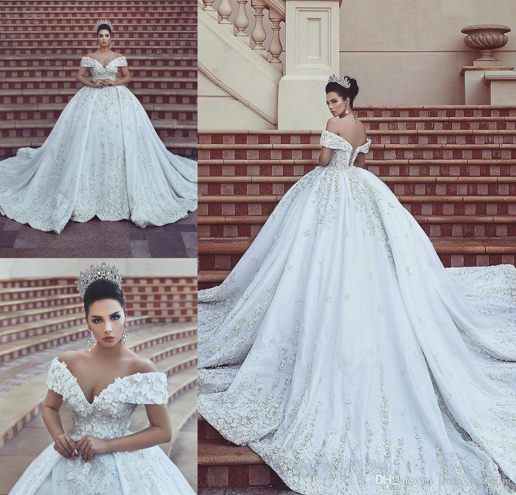 999535047a Discount New Arrival White Appliques Wedding Dress Noble A Line Off  Shoulders Satin Long Country Garden Bride Bridal Gown Custom Made Plus Size  Brides Dress ...