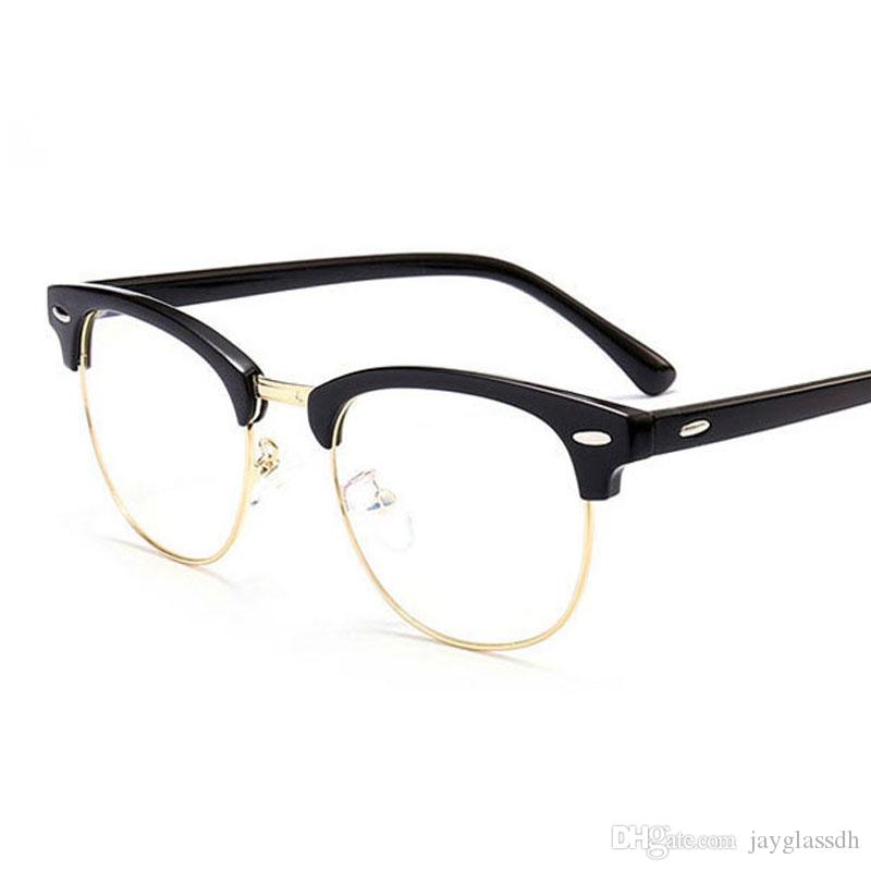 Compre 2018 Clásico Remache Medio Marcos Anteojos Retro Vintage Optica Eye  Glasses Marco Hombres Mujeres Claro Gafas De Marco De Gafas Oculos De Grau  A ... 2d536061f7