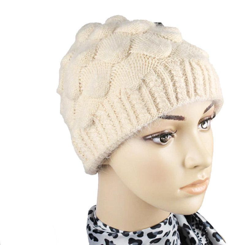 be196c170ba Wool Hats For Old Lady Thick Wool And Acrylic Winter Hat Knitted Women Cap  Fashion Solid Color Warm Beanies For Women Top Caps D18110102 Sun Hats Sun  Hat ...