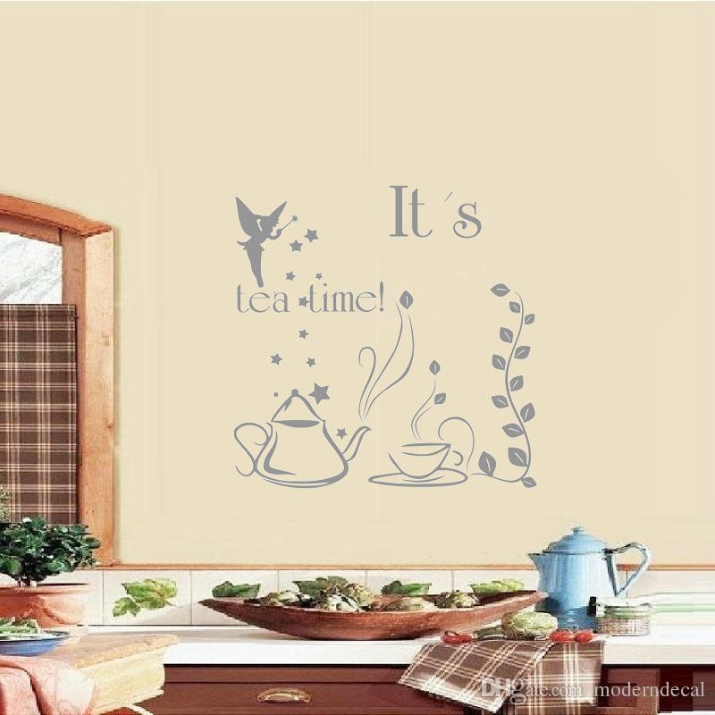 it's tea time wall stickers quote vinyl art sticker fairy with wand