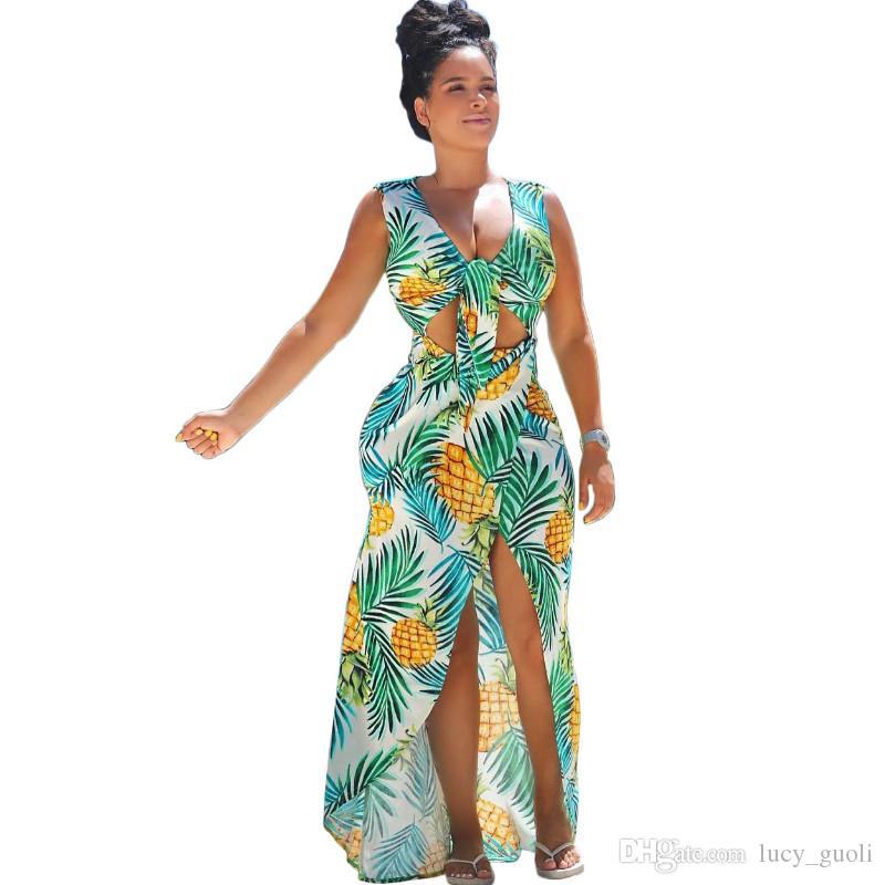 0ddf3c9f8dda Boho Style Sexy Deep v cuello Beach Maxi Dress Mujeres verano gasa túnica  2018 Beach Holiday Floral Print largo Prom vestido de fiesta Vestidos