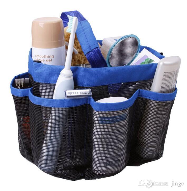 8 Pocket Mesh Shower Caddy Tote Wash Bag Dorm Caddy Organizer da bagno con 8 tasche per il trasporto di bagagli